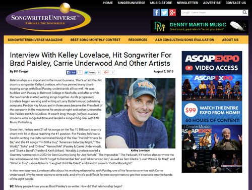 Kelley Lovelace - Songwriter Universe article